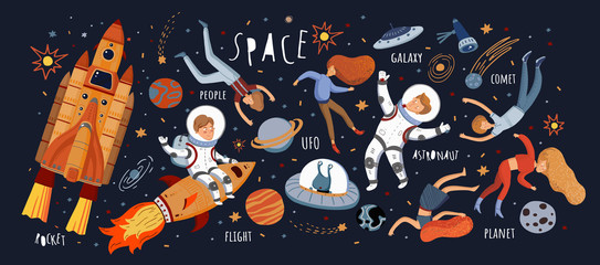 Space! Vector cute illustrations of space objects: rocket, astronaut, alien, flying people, stars, comet, moon, sky. Drawings for card, background or banner.