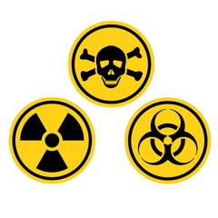 Danger warning circle yellow sign.