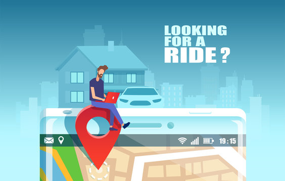 Vector of a hipster guy planning a city trip using mobile application to search for available car share service