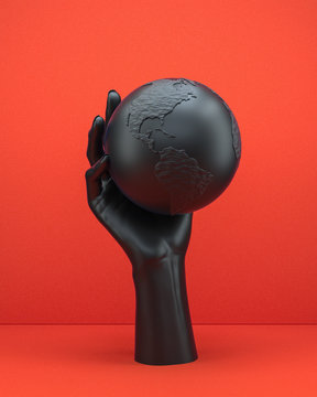 Black hand sculpture holding abstract Earth globe. World domination concept, problem of globalization and human impact on the environment. 3d rendering