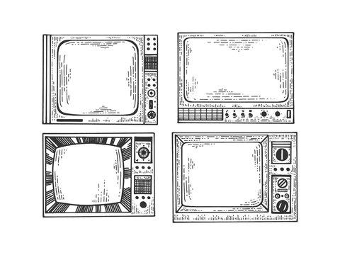 Tv set sketch engraving vector illustration. T-shirt apparel print design. Scratch board style imitation. Black and white hand drawn image.