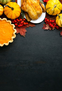 Thanksgiving Day fall background with copy space for a text