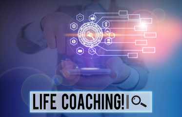 Writing note showing Life Coaching. Business concept for demonstrating employed to help showing attain their goals in career Picture photo network scheme with modern smart device