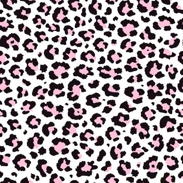 Vector abstract seamless pattern of trendy pink leopard predatory print. Modern animal fur fashion background. Realistic Leopard colorful print. Exotic wild animal skin pattern for textile, decoration