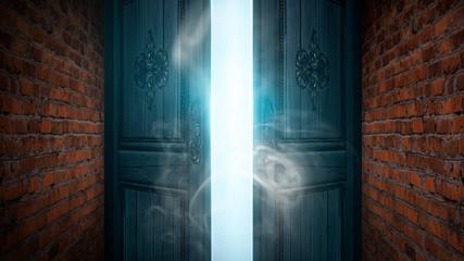 Fotomurales - Open doors, brick old walls. Sunlight, open entrance, magic background. Night scene, rays, smoke.