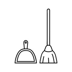 Broom and dustpan icon. Outline illustration of broom and dustpan vector icon for web. linear pictogram isolated on white. logo illustration
