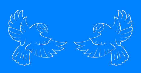 White contours of two small birds with spread wings on a blue background. Vector illustration.