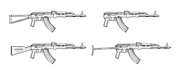 Kalashnikov rifle. Firearms. Sketch Set of Kalashnikov assault rifle AK-47, AKM, AKC, AKMC, AK-74. Firearms in combat. Assault Gun Wireframe. Machine guns. Assault rifles. Vector graphics to design