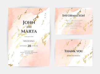 wedding invitation templates. Cover design with gold ornaments. set with hand drawn watercolor background. Trendy templates for banner, flyer, poster, greeting. eps10