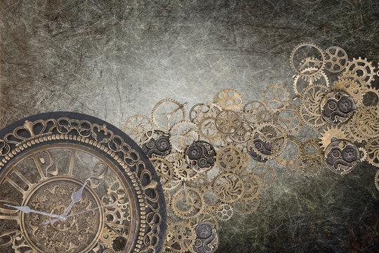 steampunk grunge clock backdrop brown - time written gear