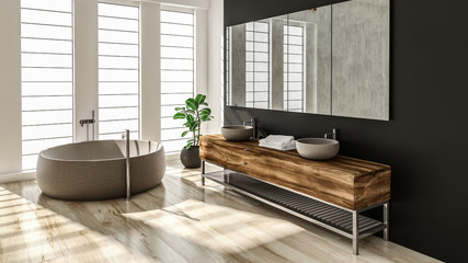 Modern bathroom interior with stone bathtub and wooden sink. 3d Rendering