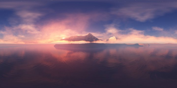 Panorama of the bay at sunset. Seascape in the morning in the fog, HDRI, environment map , Round panorama, spherical panorama, equidistant projection, 360 high resolution panorama
