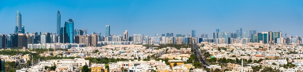 Photo sur Toile Abou Dabi Panoramic view of Abu Dhabi downtown skyline in the UAE capital