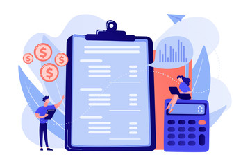 Financial analysts doing income statement with calculator and laptop. Income statement, company financial statement, balance sheet concept. Pink coral blue vector isolated illustration