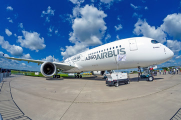 Demonstration airplane Airbus A350 XWB. Russia, Moscow. July 2017.