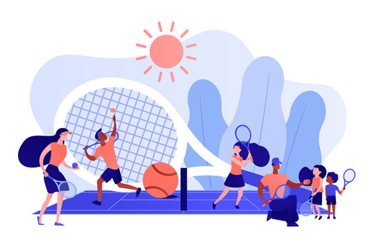 Coaches and kids on the court practicing with rackets in summer camp, tiny people. Tennis camp, tennis academy, junior tennis training concept. Pinkish coral bluevector isolated illustration
