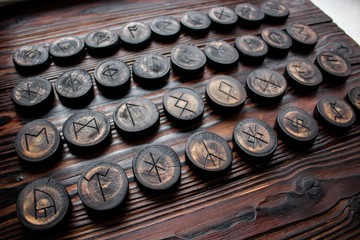 Set of anglo-saxon runes carved in wood - anglo-saxon futhark (futhorc)