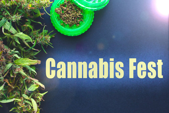 poster cannabis fest,frame mockup for marijuana events,grinder and buds copy space
