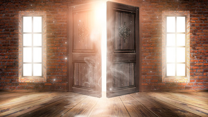 Wall Mural - Dark room with large windows and open doors. Old brick walls, wooden floor. Sunlight shines through windows, rays, glare. Abstract room. Magical atmosphere.