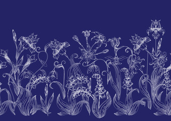 Imitation of traditional Japanese embroidery Sashiko. Spring flowers. Seamless pattern, background. Vector illustration. On navy blue background.