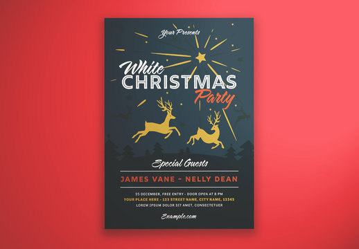 Dark Christmas Party Graphic Flyer Layout with Reindeer