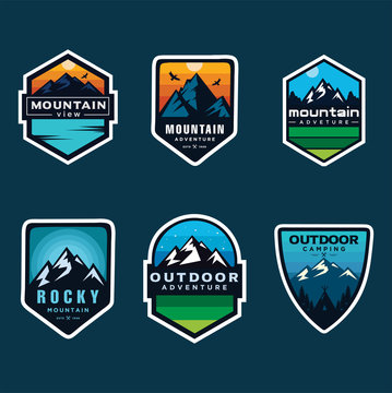 Set Of Mountain Logo Outdoor Adventure, Badges, Banners, Emblem For Mountain, Hiking, Camping, Expedition And Outdoor Adventure. Exploring Nature.