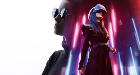 Double exposure of female face. Abstract woman portrait. Digital art. Girl in glasses of virtual reality. Augmented reality, game, future technology concept. VR. Neon lights.