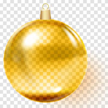 Golden christmas ball. Gold Christmas tree toy.