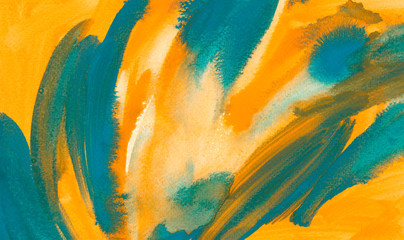 Abstract turquoise and orange watercolor background. The color splashing in the paper.