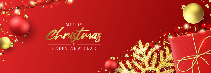 Christmas holiday horizontal banner. Festive New Year background with realistic red gift box, snowflakes and sparkling light garlands. Vector illustration with Christmas balls, confetti. Fototapete