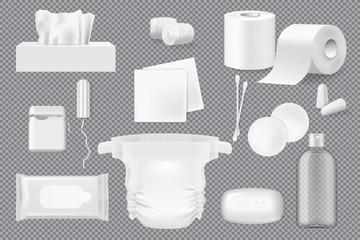 Soap, napkin, cotton pad and swab 3d mockups
