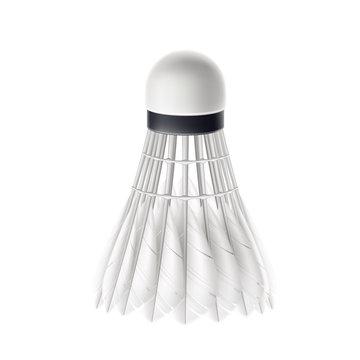 Vector 3d badminton shuttlecock white mock up