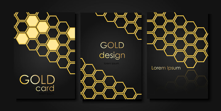 Invitation templates in gold style. Golden honeycombs on a black background.