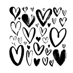 Heart sketch collection. Hand drawn rough brush hearts isolated on white background.