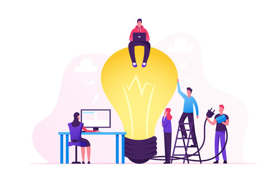 Creative Crisis, Teamworking and Searching Idea Concept. Business People Stand at Huge Turned Off Light Bulb