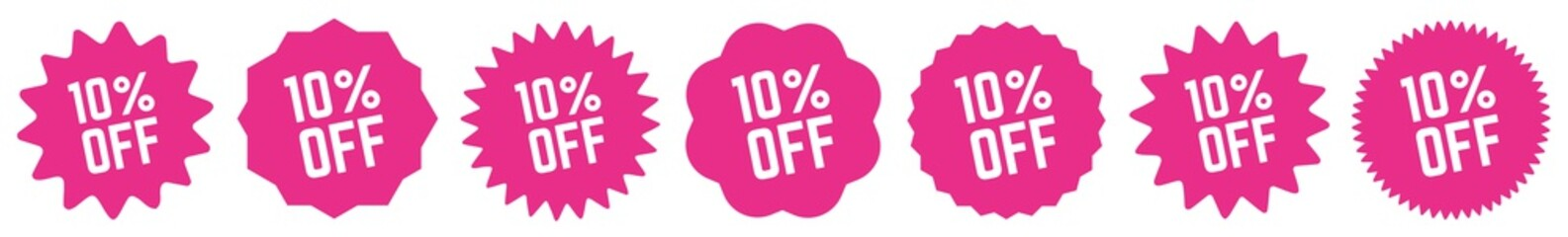 10 Percent OFF Discount Tag Pink | Special Offer Icon | Sale Sticker | Deal Label | Variations