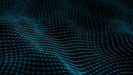 Wave of bright particles. Data technology futuristic illustration. Network of connected dots and lines on dark background. Abstract digital background. 3d rendering.