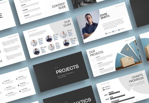 Business Presentation Layout with Round Dark Elements