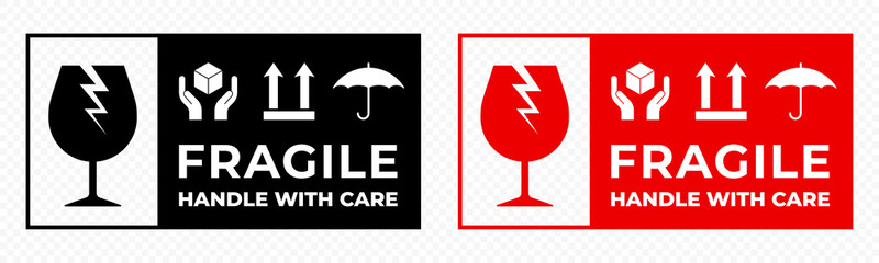 Fragile package icons set, handle with care logistics and delivery shipping labels. Fragile box and glass parcel warning vector signs