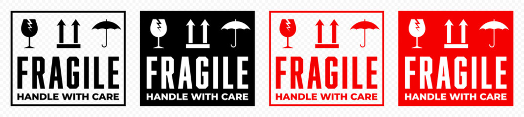 Fragile box, handle with care logistics package vector icons set. Fragile cargo shipping warning, glass, umbrella an this side up vector signs