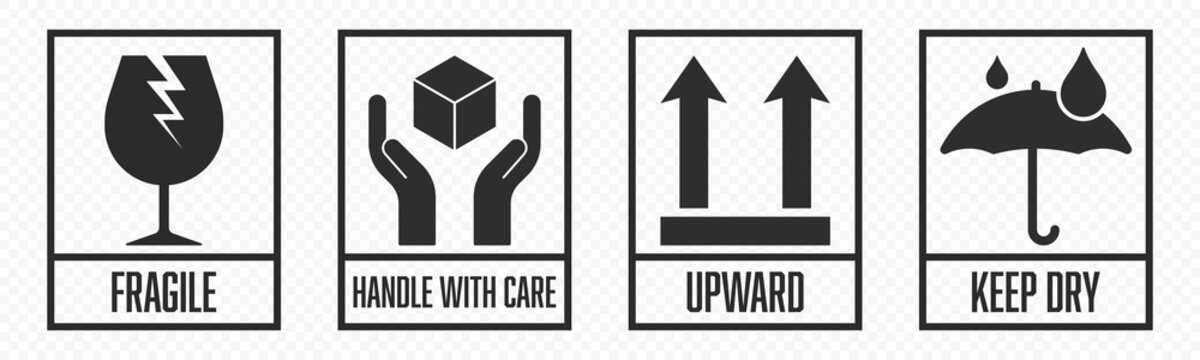 Fragile package icons set, handle with care logistics and delivery shipping labels. Fragile box, cargo warning vector signs