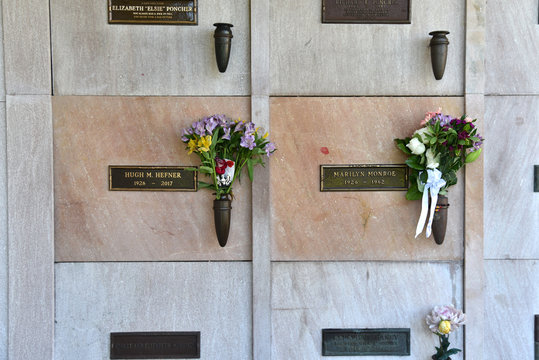 Marilyn Monroe and Hugh Hefner's Graves Westwood Memorial Park Los Angeles July 2019