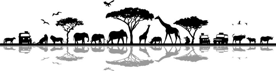 Savanna Landscape Africa Vector Silhouette