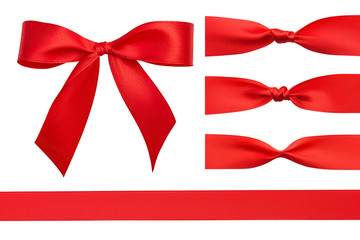 Flat lay design set of red satin perfect ribbon, red simple beautiful handmade bow and three different knots isolated on white background. Close up design elements. Clipping path.