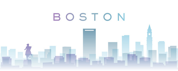 Boston Transparent Layers Gradient Landmarks Skyline