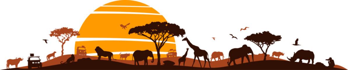 Fototapeta Savanna Landscape Africa Vector Silhouette obraz