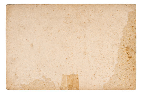 Used paper sheet Old cardboard stains isolated white background