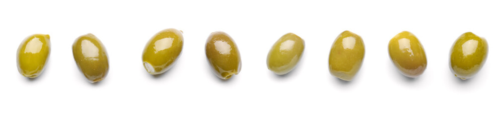 Tasty olives on white background
