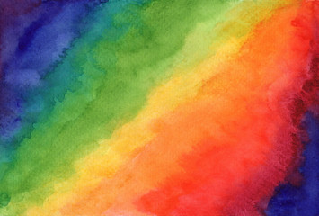 Bright striped rainbow watercolor abstract background. Contrast hand drawn colorful vibrant watercolour texture for software, ui design, web, apps wallpaper, banner