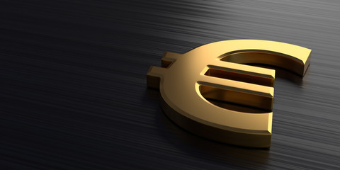 Golden euro sign lies on a dark chrome background. 3d rendering illustration